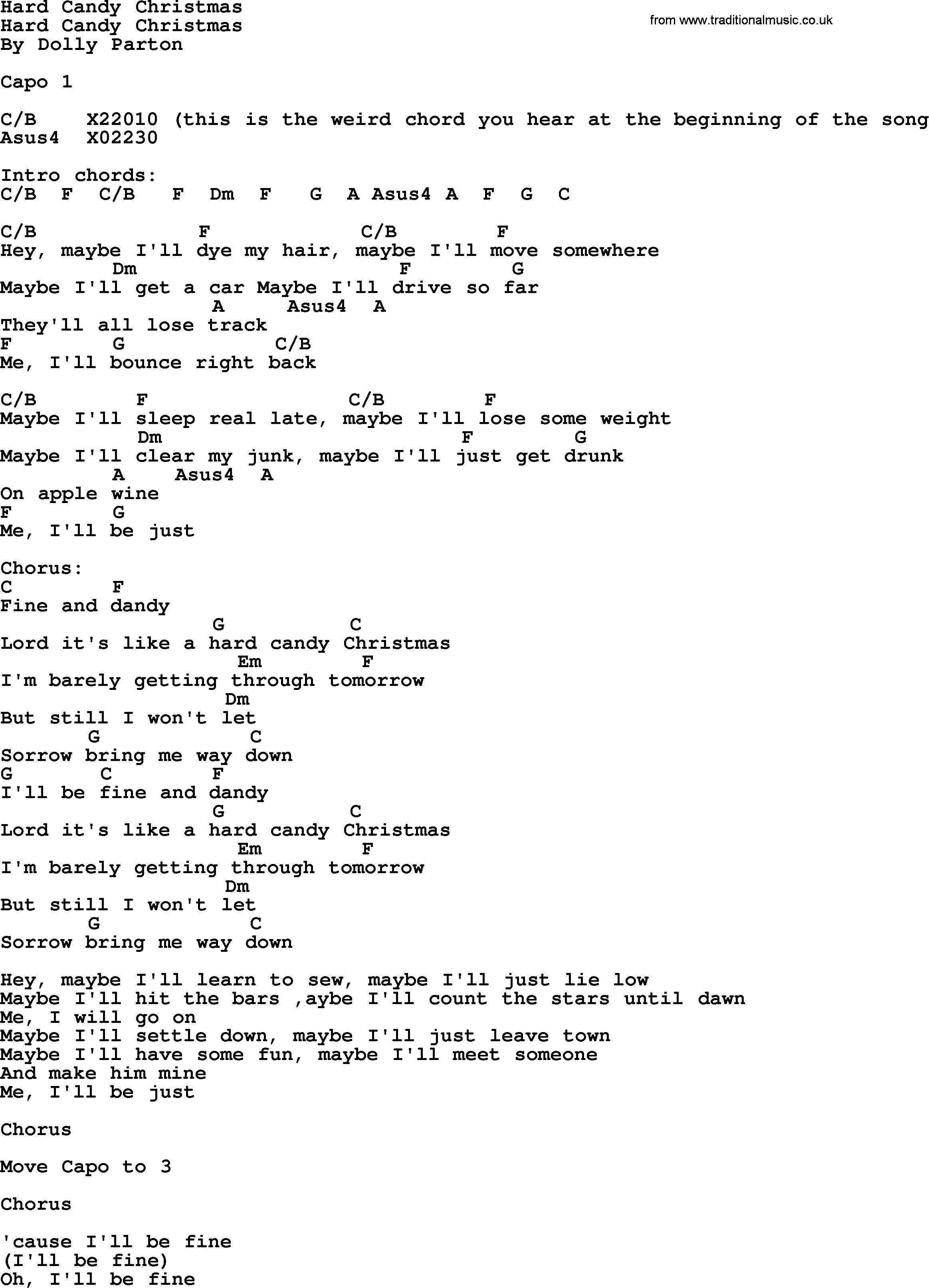 Hard Candy Christmas Chords  Hard Candy Christmas Bluegrass lyrics with chords