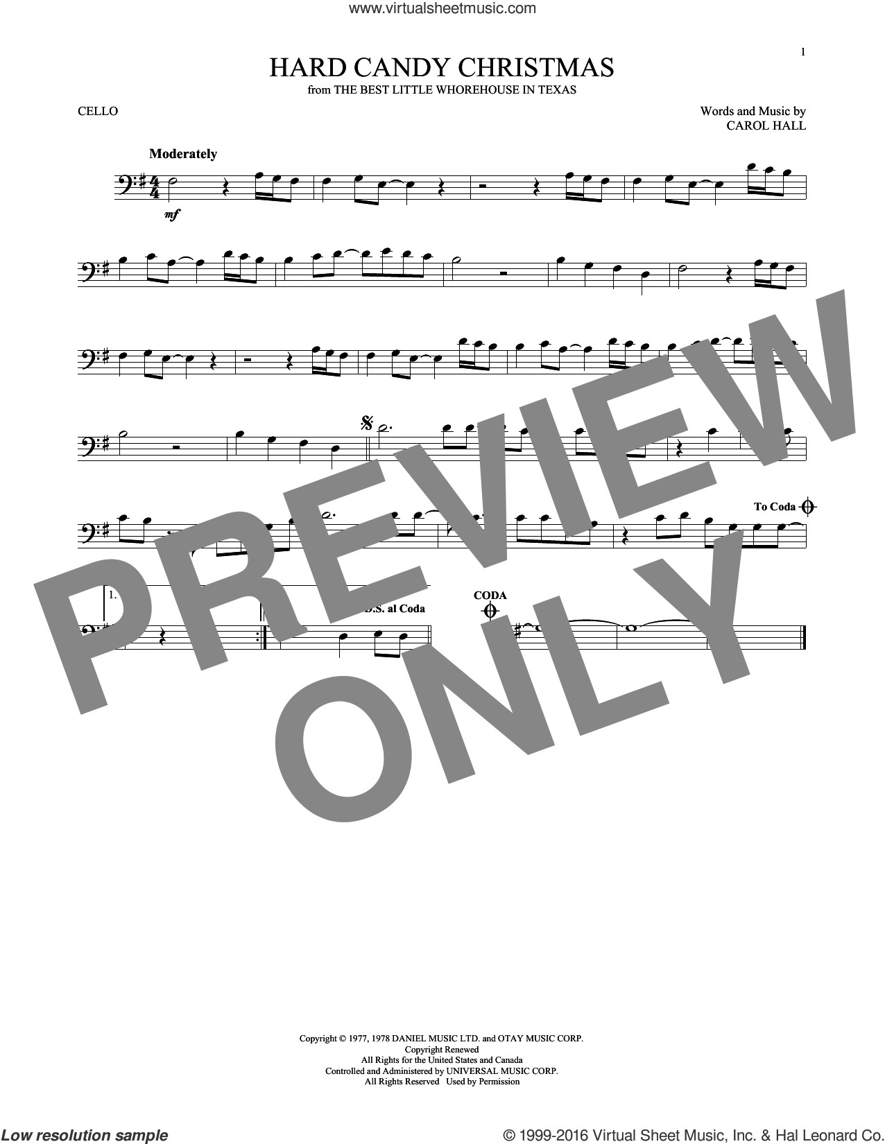Hard Candy Christmas Chords  Parton Hard Candy Christmas sheet music for cello solo [PDF]