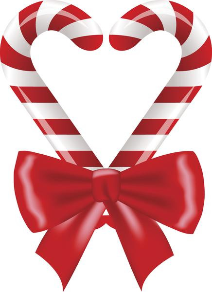 Heart Candy Christmas  Holiday Christmas Candy Cane Heart with Bow Vinyl Decal
