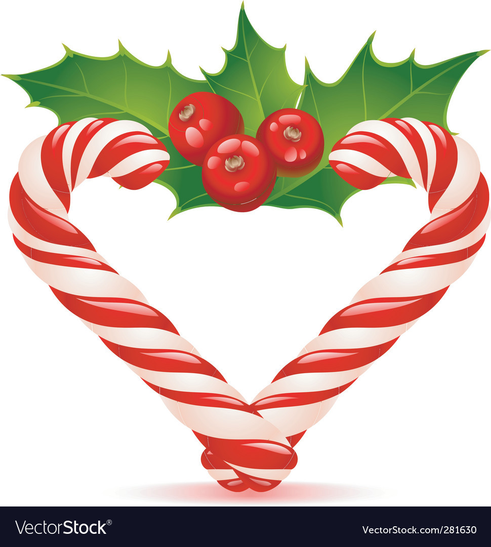 Heart Candy Christmas  Christmas heart candy canes vector by denis13 Image