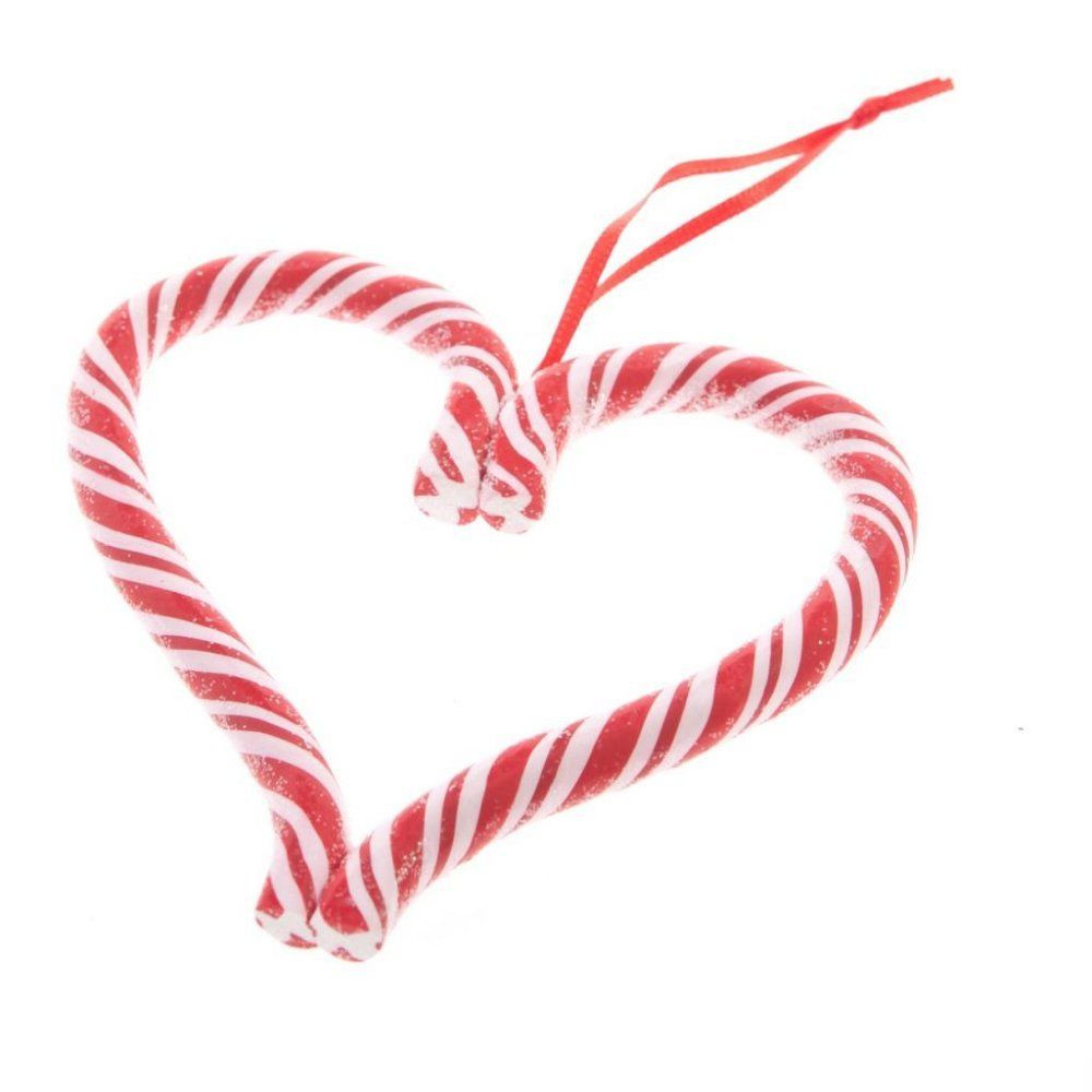Heart Candy Christmas  GISELA GRAHAM HANGING STRIPED CANDY CANE HEART SWEET
