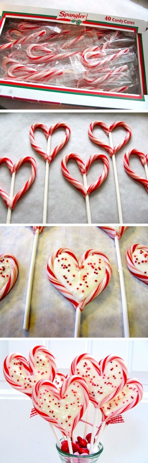 Heart Candy Christmas  Candy Cane heart shaped lipop Just bake at 300F for 3