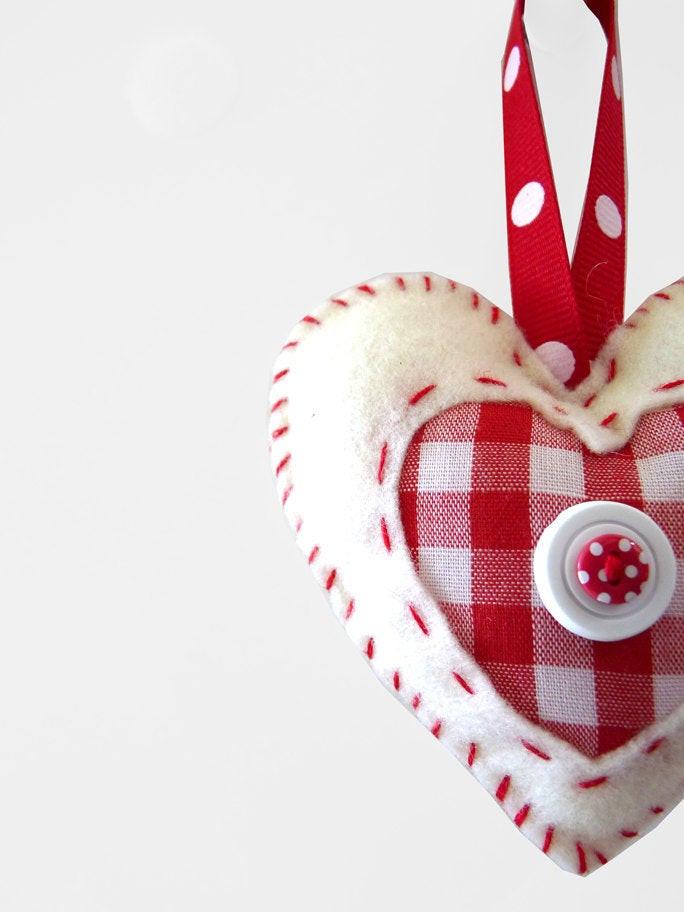 Heart Candy Christmas  Felt Heart Christmas Ornament Candy Cane