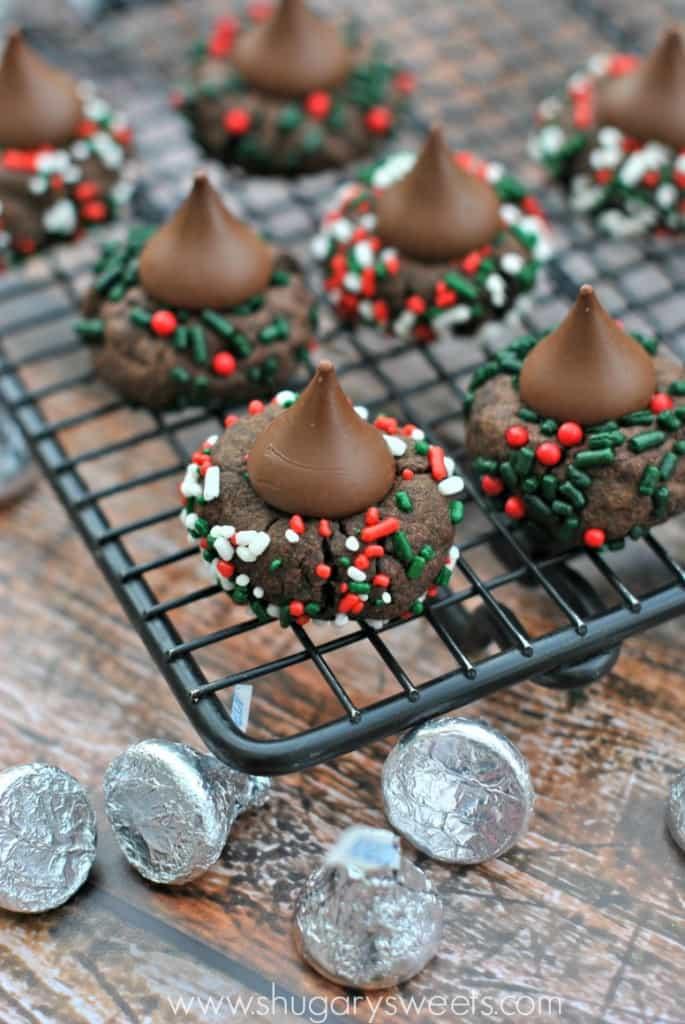 Hershey Kisses Christmas Cookies  Chocolate Sprinkle Kiss Cookies Shugary Sweets