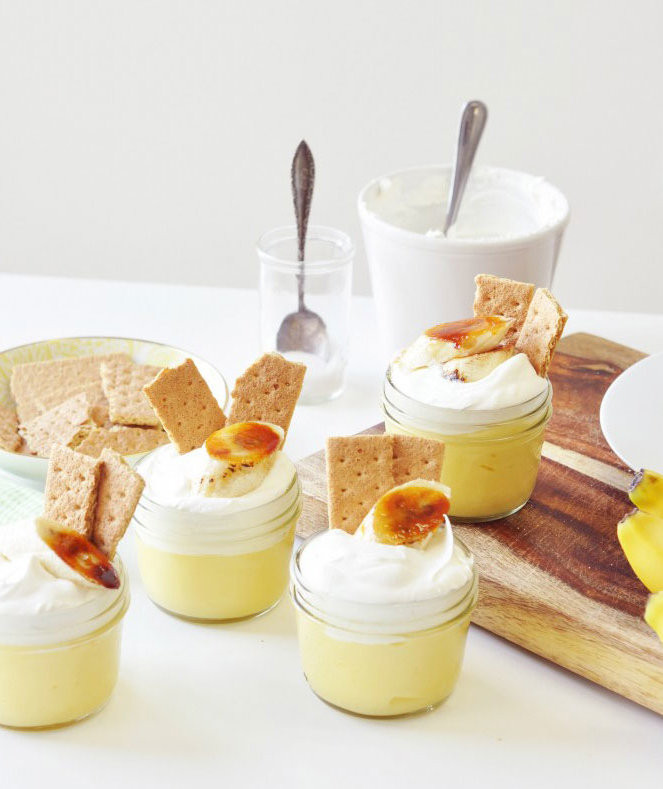 Individual Thanksgiving Desserts  Caramelized Banana Cream Pie Parfaits