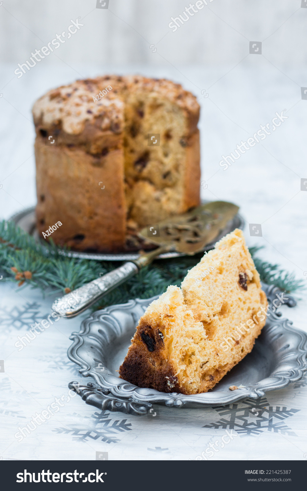 Italian Sweet Bread Loaf Made For Christmas  Panettone Italian Christmas Sweet Bread Loaf Stock