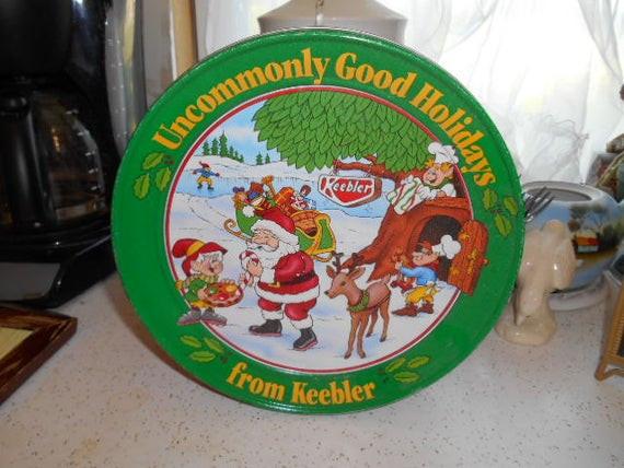 Keebler Christmas Cookies  1994 Keebler Elves Christmas Tin Can for cookies