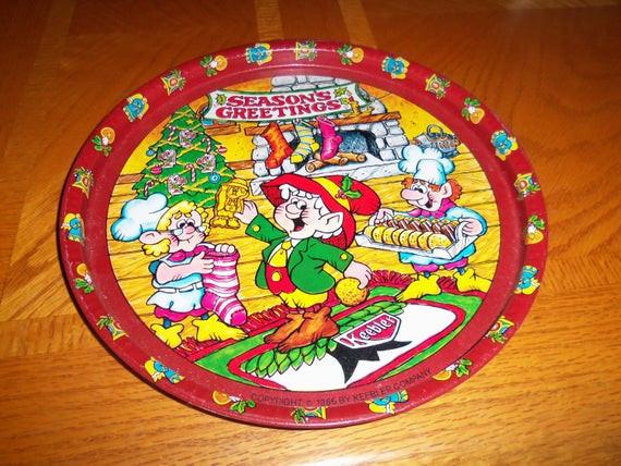 Keebler Christmas Cookies  Vintage Keebler elves elf pany 1986 serving tray tin
