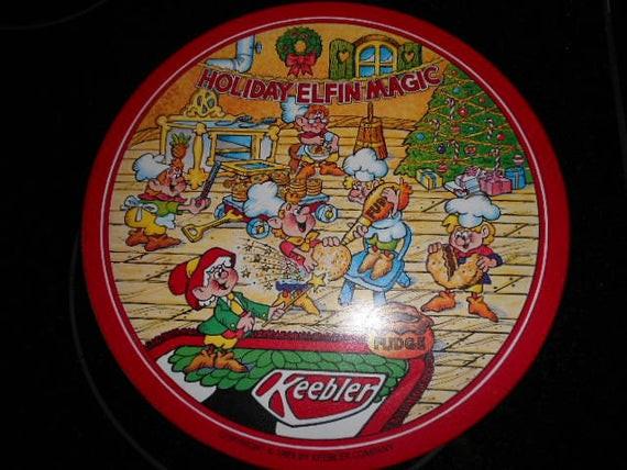 Keebler Christmas Cookies  1989 Keebler pany Extra Christmas Round Tin Can