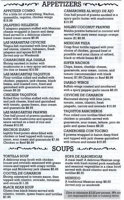 Las Margaritas O'Fallon Menu  Las Margaritas Menu Menu for Las Margaritas Covington