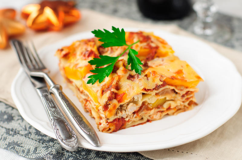 Lasagna For Christmas Dinner  Chicken And Pumpkin Lasagna Christmas Dinner Stock Image
