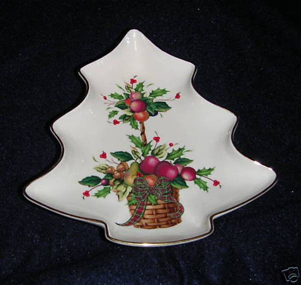 Lenox Christmas Candy Dish  LENOX HOLIDAY TARTAN TREE CANDY DISH