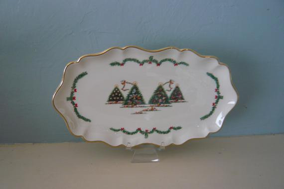 Lenox Christmas Candy Dish  Lenox Joys of Christmas Candy Dish with by ManyAMoonsVintage