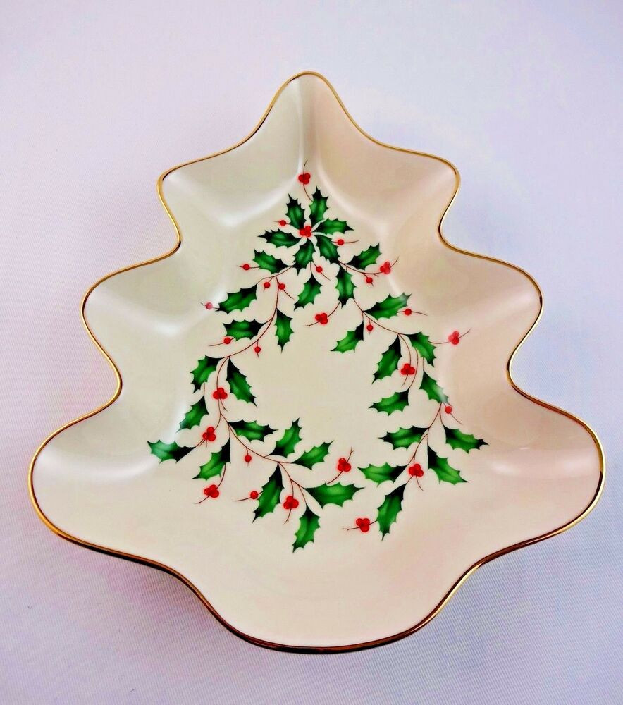 Lenox Christmas Candy Dish  Lenox Christmas Candy Dish Ivory China Holiday Holly Red