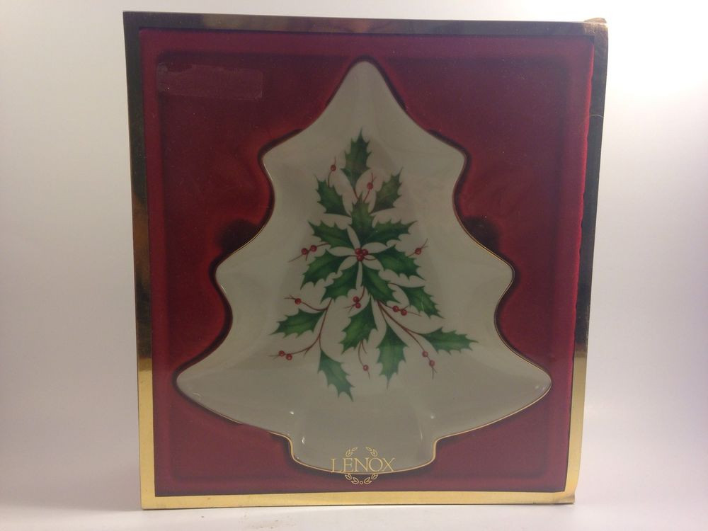 Lenox Christmas Candy Dish  LENOX HOLIDAY TREE CANDY DISH NIB
