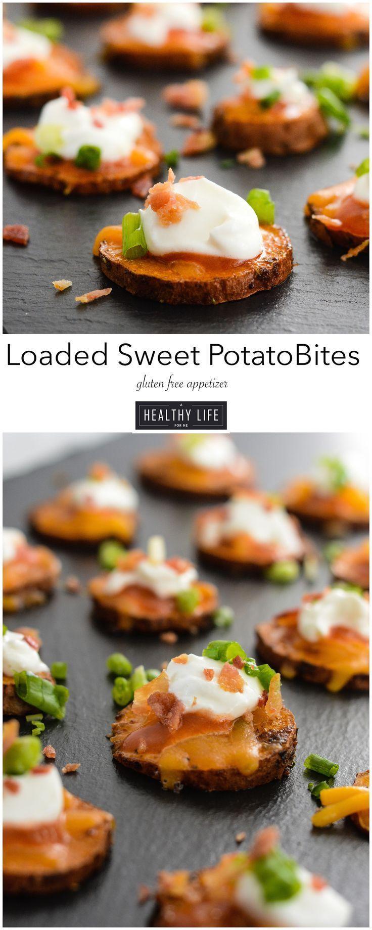 Light Thanksgiving Appetizers  Loaded Sweet Potato Bites Recipe