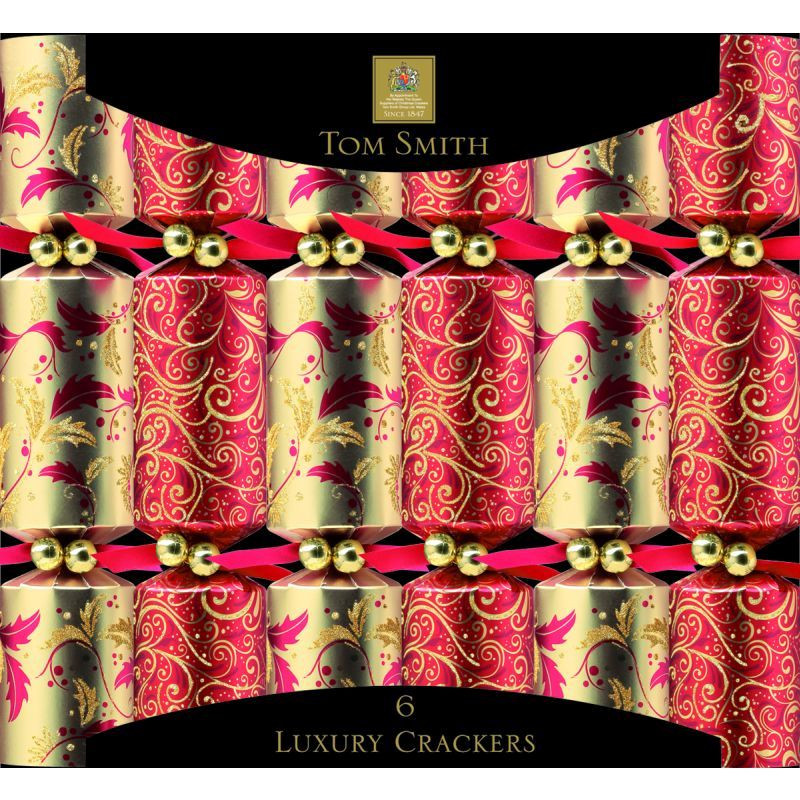 "Luxury Christmas Crackers  6 Luxury Christmas Crackers 12 5"" Red Gold Buy line"