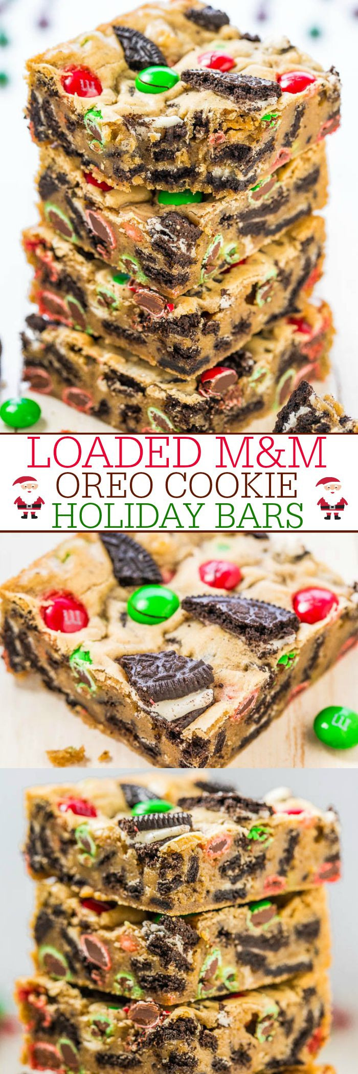 M&M Christmas Cookies Recipe  Loaded M&M Oreo Cookie Holiday Bars Recipe