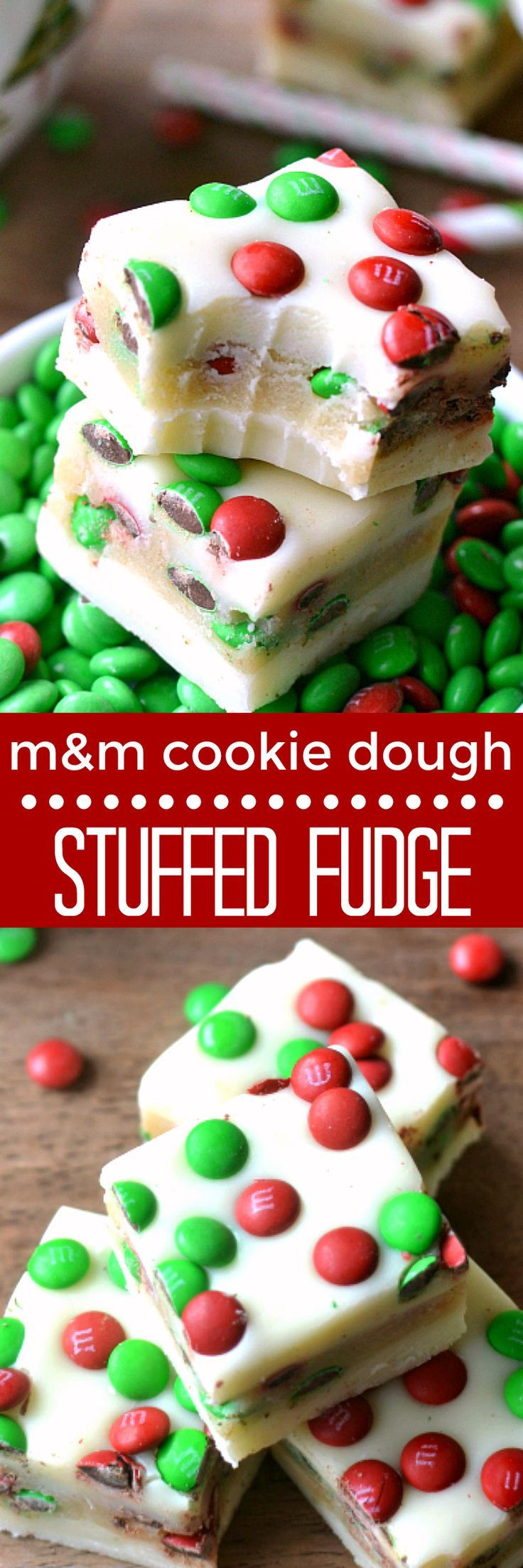 M&M Christmas Cookies Recipe  White Chocolate Fudge stuffed with M&M cookie dough and