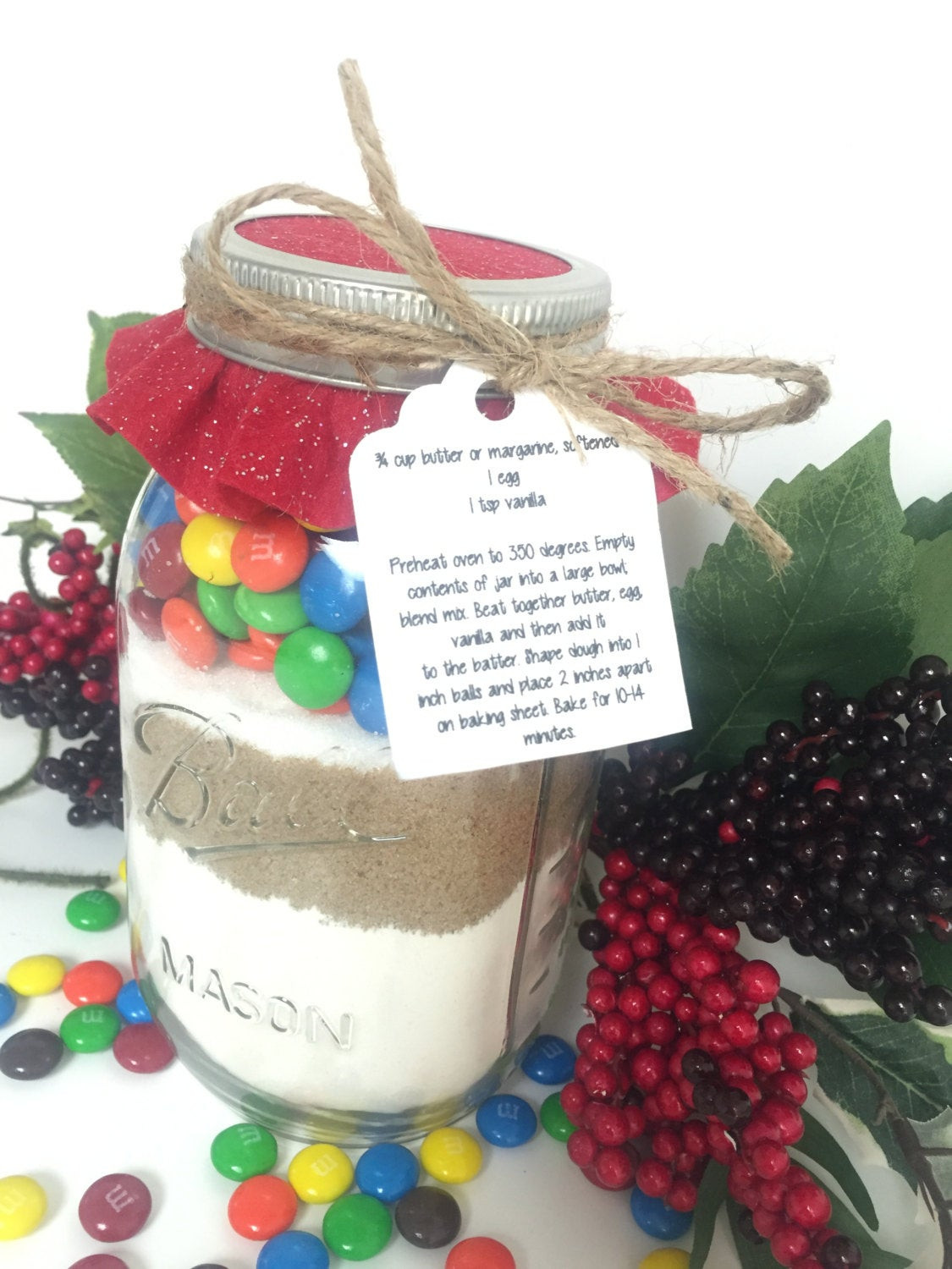 Mason Jar Christmas Cookies  Mason Jar Cookie Mix M&M Chocolate Chip Cookies Christmas