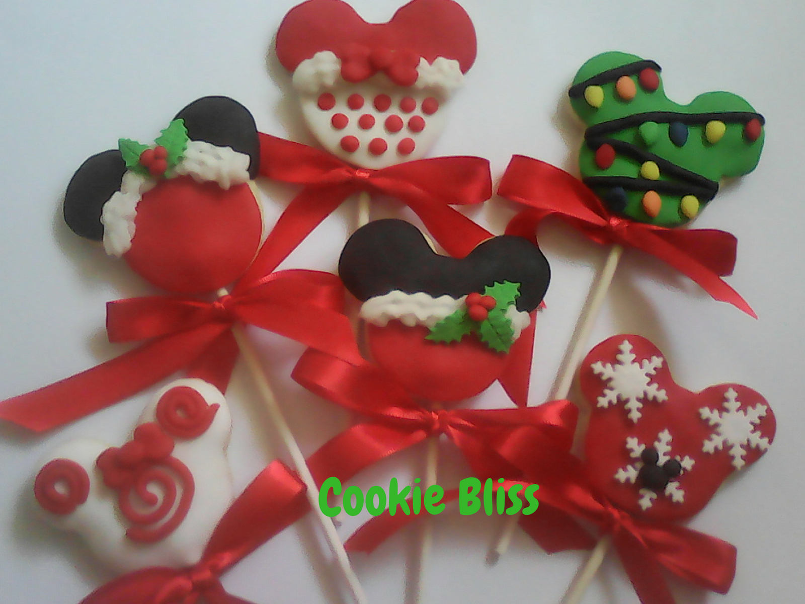 Mickey Mouse Christmas Cookies  6 Minnie & Mickey Mouse Christmas Cookie Lollipops Party