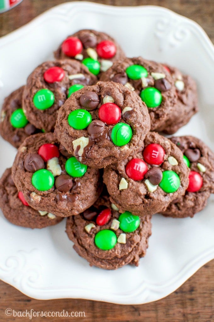 Mint Christmas Cookies  Chocolate Peppermint M and M Cookies Back for Seconds