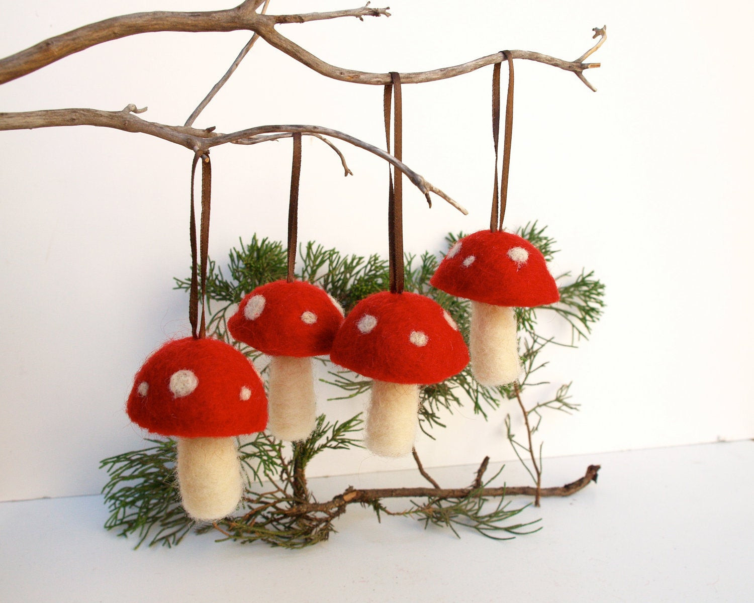 Mushrooms And Christmas  Waldorf Ornaments red toadstool mushroom decoration woodland