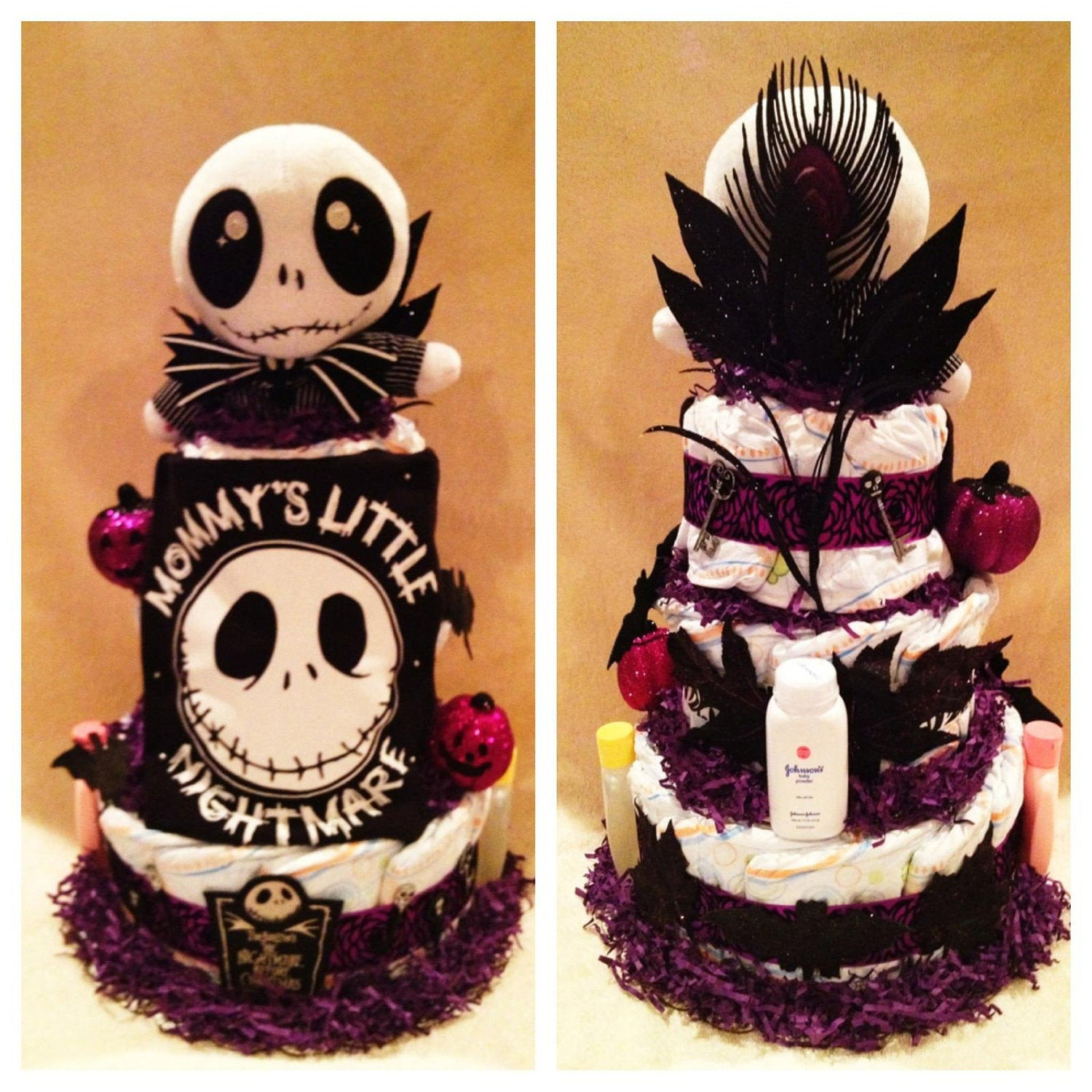 Nightmare Before Christmas Baby Shower Cakes  3 Tier Nightmare before Christmas Diaper Cake
