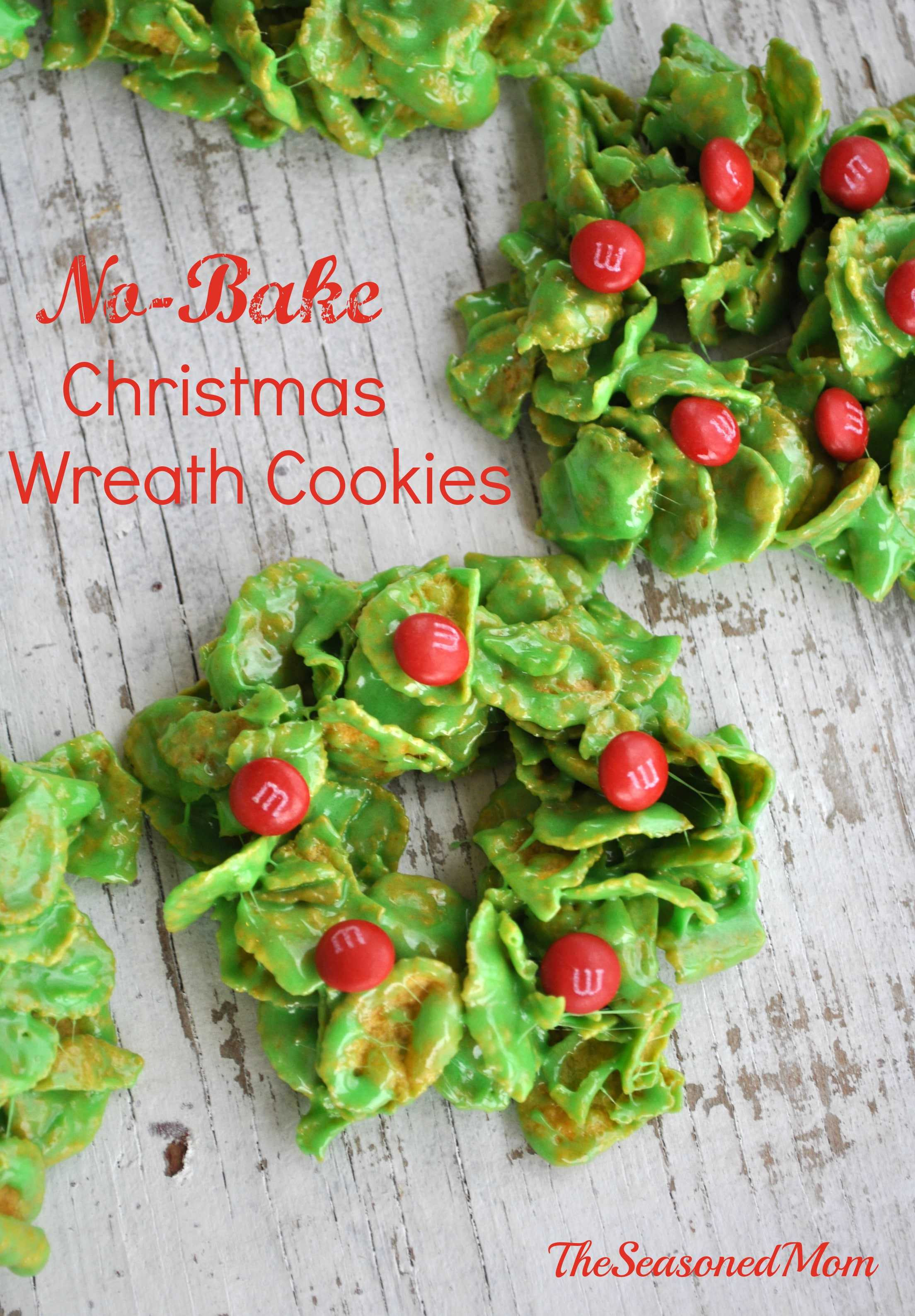 No Bake Christmas Wreath Cookies  Holiday Cookies with M&M s Can s The Seasoned Mom
