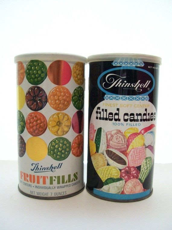 Old School Christmas Candy  Pair of Vintage Old School Fruit Filled Candy Tins