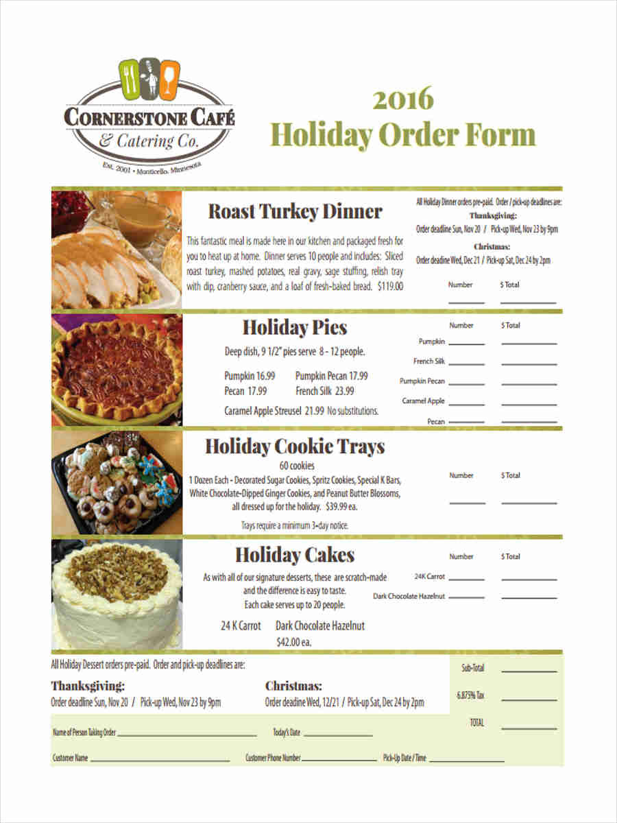 Order Christmas Dinner  6 Dinner Order Form Free Documents in Word PDF
