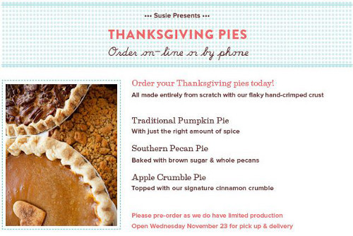 Order Pies For Thanksgiving  SusieCakes Signage Now Up & Thanksgiving Pies Available