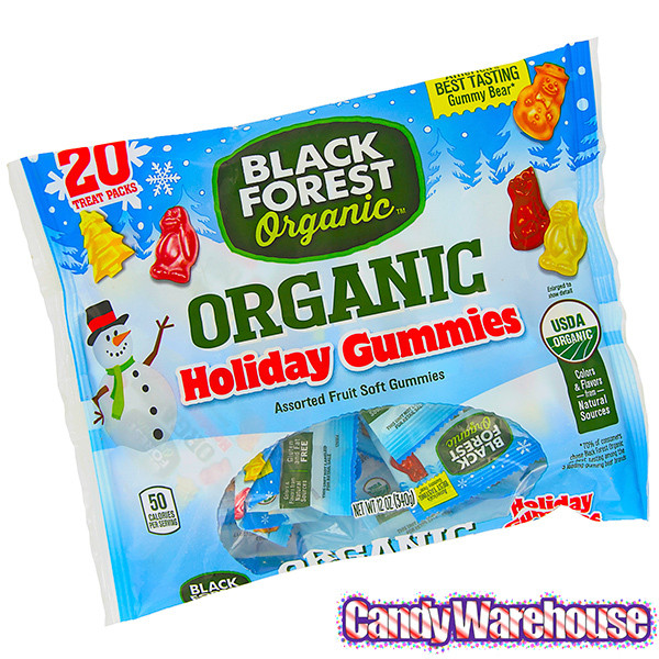 Organic Christmas Candy  Black Forest Organic Holiday Gummy Candy Snack Packs 20