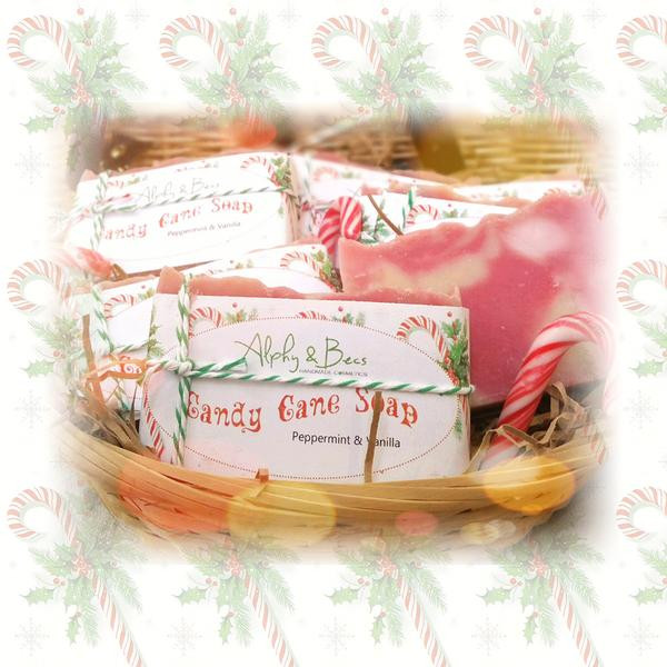 "Organic Christmas Candy  Natural Christmas Soap ""Candy Cane"" – Alphy & Becs"