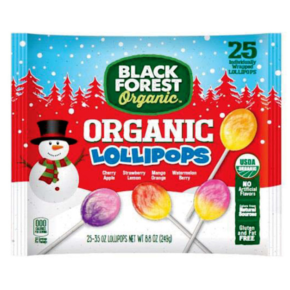 Organic Christmas Candy  Black Forest Organic Holiday Lollipops 25 Piece Bag