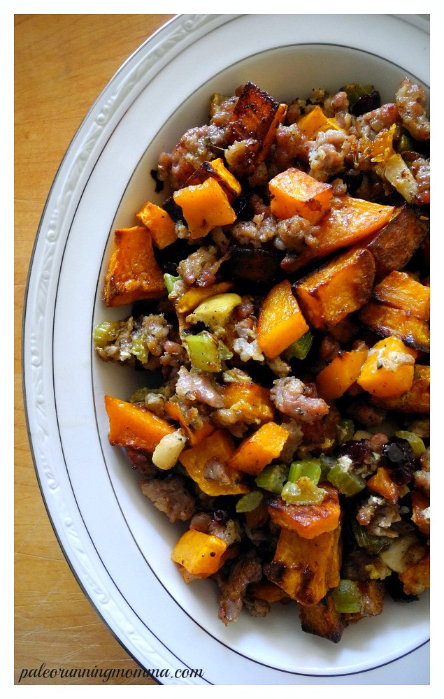 Paleo Thanksgiving Stuffing  Paleo Butternut Sausage Stuffing with Apples & Cranberries
