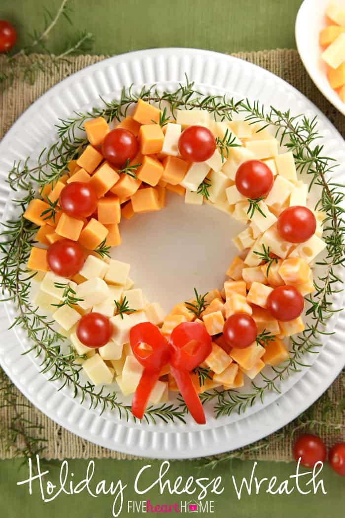 Party Appetizers Christmas  Holiday Cheese Wreath • FIVEheartHOME