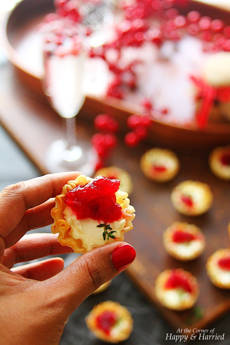 Party Appetizers Christmas  Cranberry & Cream Cheese Mini Phyllo Bites Christmas