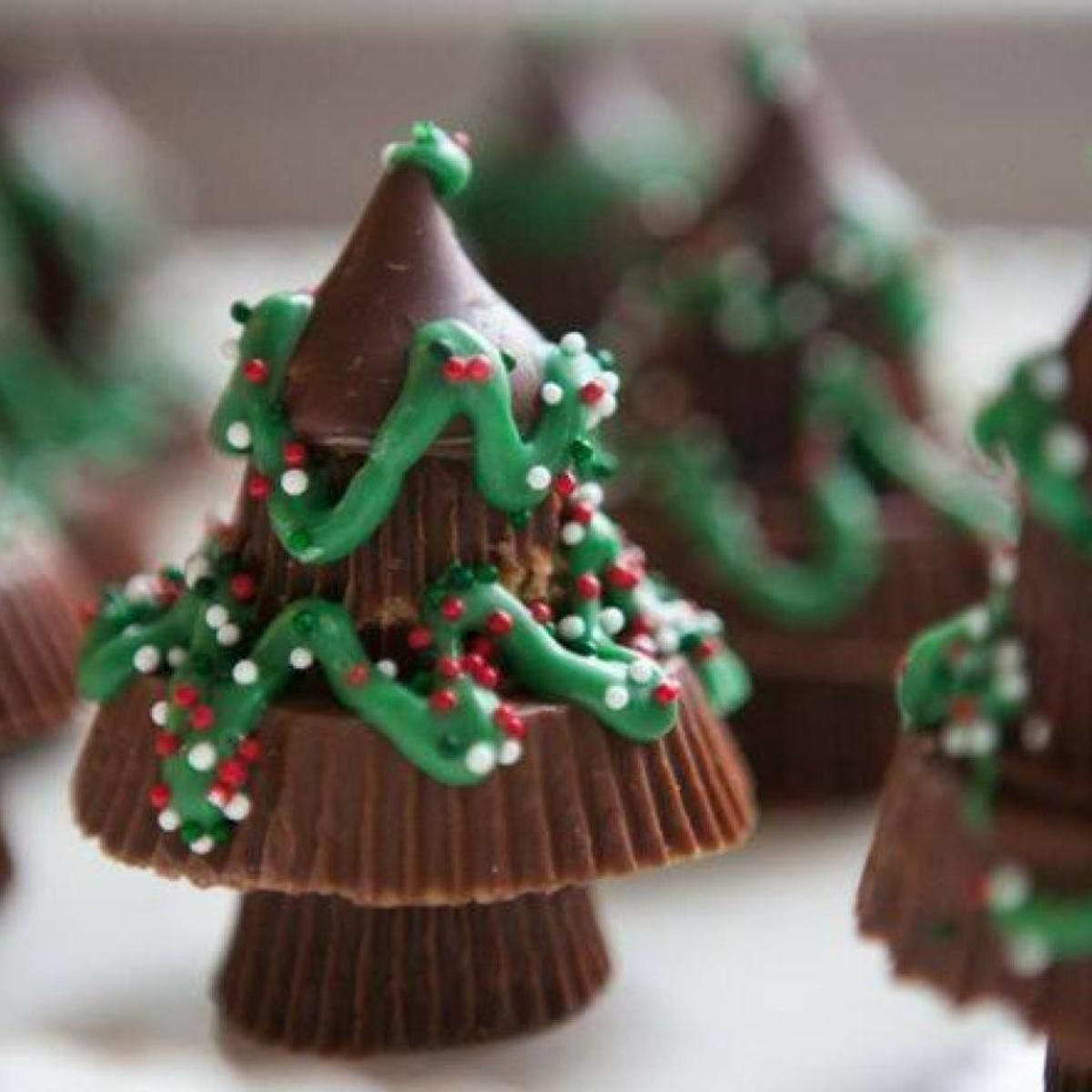 Peanut Butter Christmas Candy  Reese s Chocolate Candy Christmas Trees Recipe