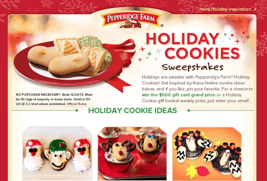 Pepperidge Farm Christmas Cookies  HOLIDAY SWEEPSTAKES WITH PEPPERIDGE FARM