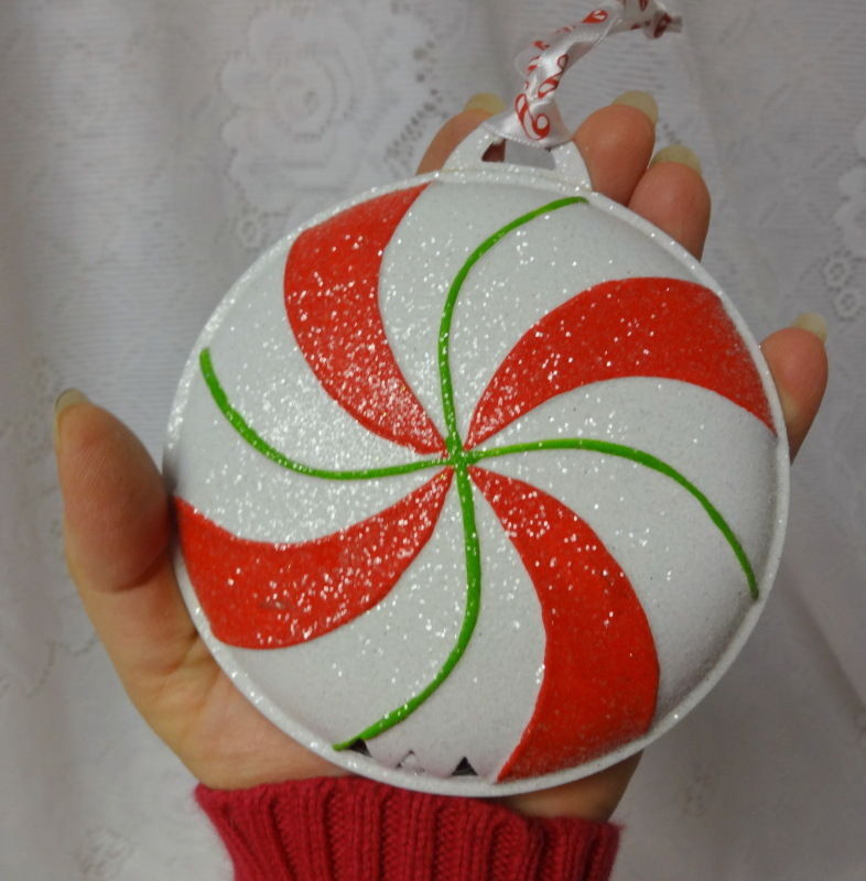 Peppermint Candy Christmas Ornaments  Vintage Christmas ORNAMENTS PEPPERMINT CANDY CANE Metal