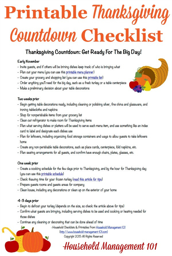 Planning Thanksgiving Dinner Checklist  Free Printable Thanksgiving Planner 5 Forms Included