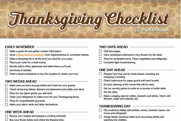 Planning Thanksgiving Dinner Checklist  Thanksgiving Checklist Plan A Low Fuss Feast