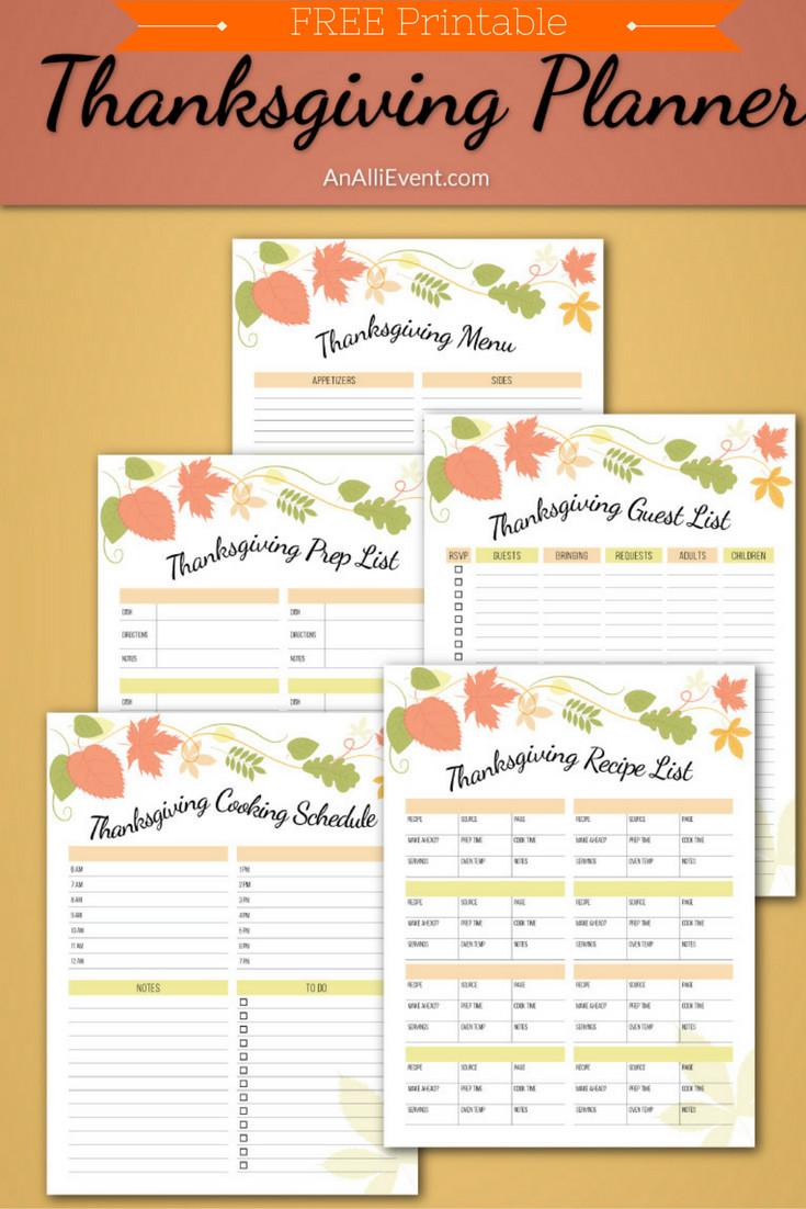 Planning Thanksgiving Dinner Checklist  FREE Thanksgiving Planner Printable An Alli Event