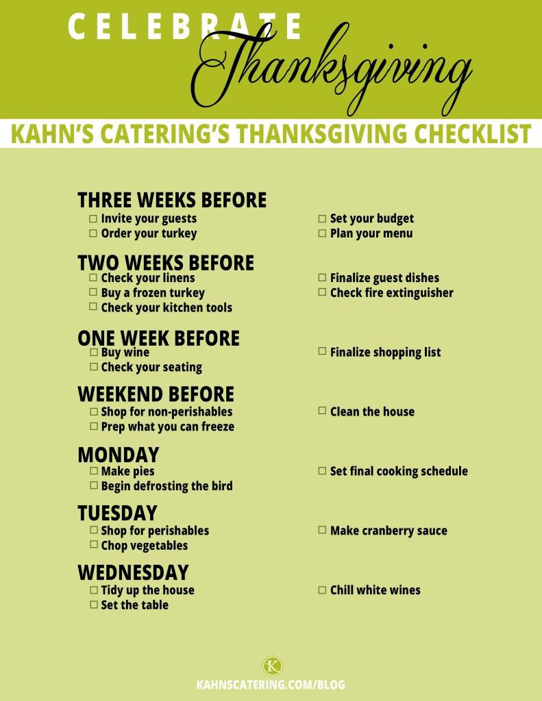 Planning Thanksgiving Dinner Checklist  Thanksgiving Planning Checklist Kahns Catering