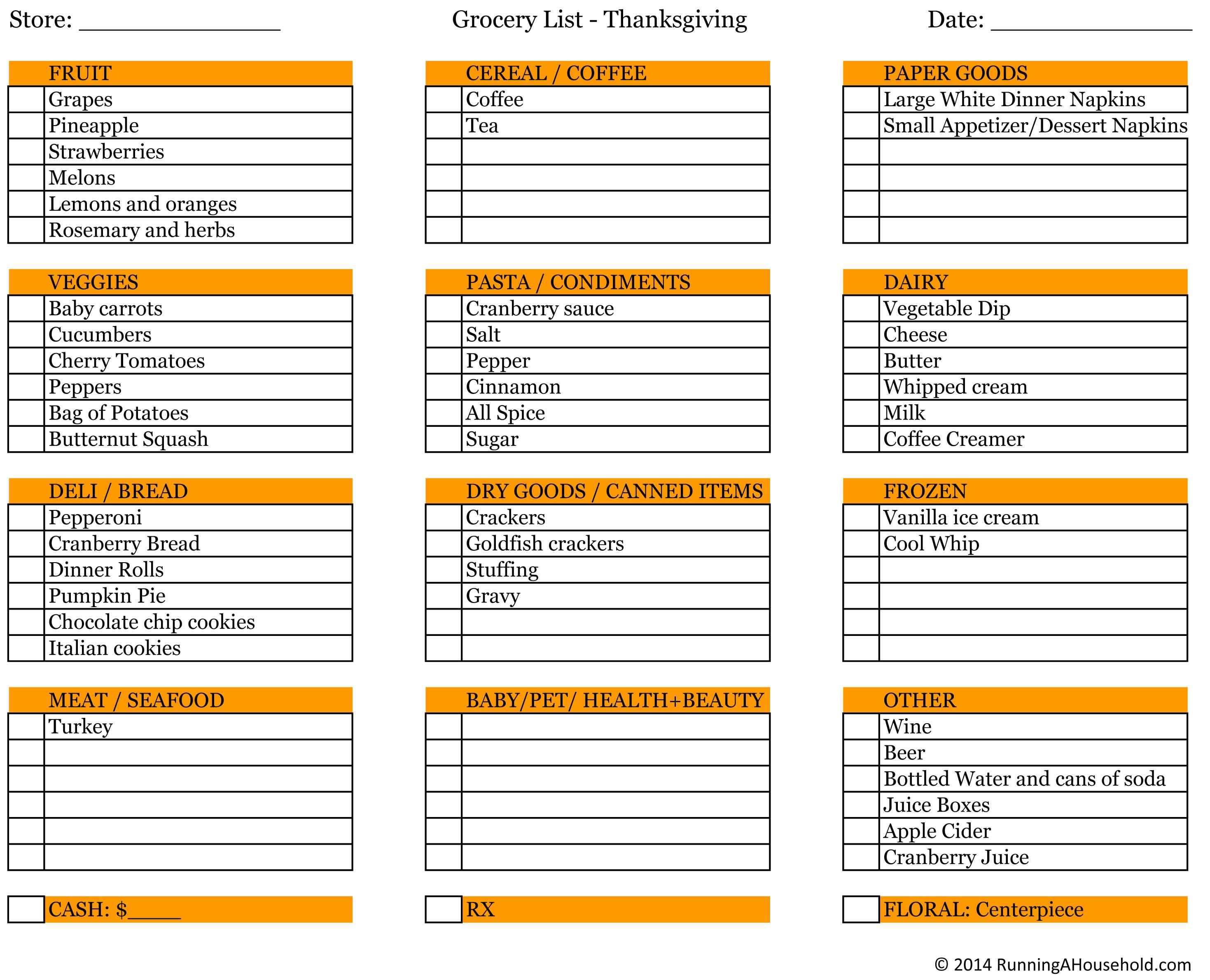 Planning Thanksgiving Dinner Checklist  Planning Thanksgiving Dinner Running A Household