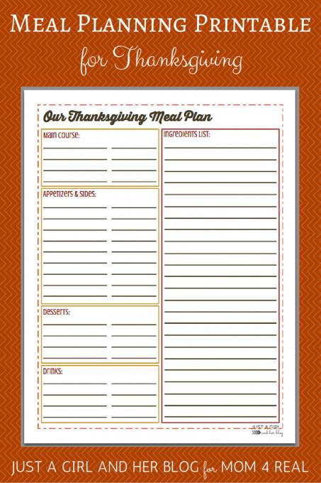 Planning Thanksgiving Dinner Checklist  Thanksgiving Menu Meal Planning Free Printable Mom 4 Real