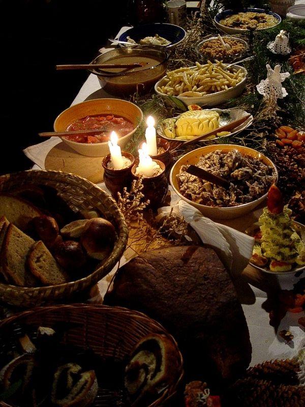"Polish Christmas Eve Dinner  ""Wigilia traditional Christmas Eve supper in Poland"