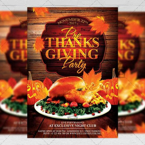 Pre Made Turkey For Thanksgiving  Pre Thanksgiving Party – Seasonal A5 Flyer Poster Template