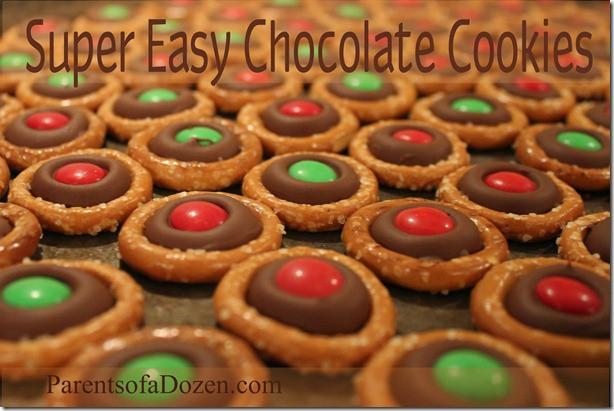 Pretzel Christmas Cookies  Parents of a Dozen Super Easy Delicious Chocolate Pretzel